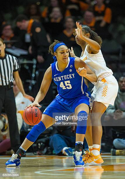 Kentucky Wildcats center Alyssa Rice driving against Tennessee Lady Volunteers guard/forward Jaime Nared during a game between the Tennessee Lady...
