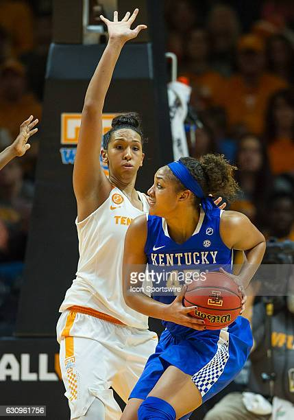 Kentucky Wildcats center Alyssa Rice is guarded by Tennessee Lady Volunteers center Mercedes Russell during a game between the Tennessee Lady...