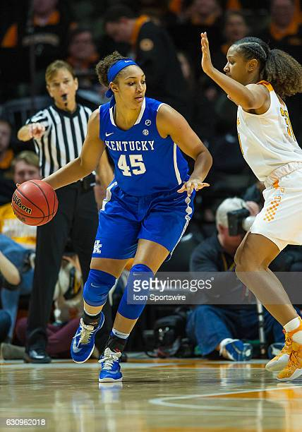 Kentucky Wildcats center Alyssa Rice is guarded by Tennessee Lady Volunteers guard/forward Jaime Nared during a game between the Tennessee Lady...
