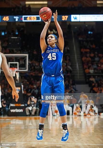 Kentucky Wildcats center Alyssa Rice takes a shot during a game between the Tennessee Lady Volunteers and Kentucky Wildcats on January 1 at...