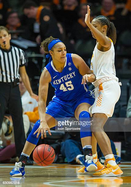 Kentucky Wildcats center Alyssa Rice tries to drive inside against Tennessee Lady Volunteers guard/forward Jaime Nared during a game between the...