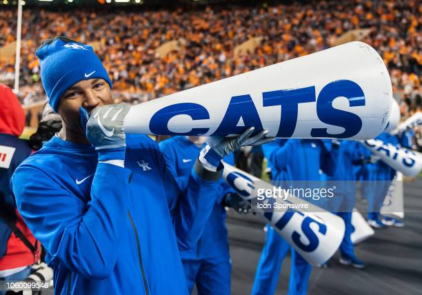 Kentucky Wildcats cheerleader entertains the crowd during a college football game between the Tennessee Volunteers and Kentucky Wildcats on November...