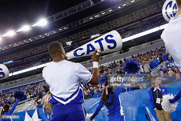 Kentucky Wildcats cheerleader holds a megaphone during the game against the Mississippi State Bulldogs at Commonwealth Stadium on October 22, 2016 in...