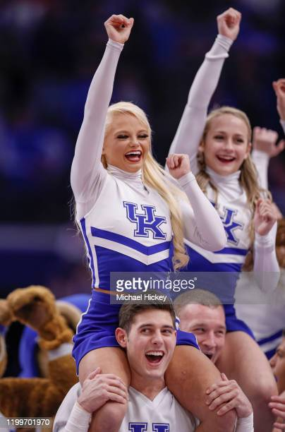 Kentucky Wildcats cheerleader is seen during the game against the Mississippi State Bulldogs at Rupp Arena on February 4, 2020 in Lexington, Kentucky.