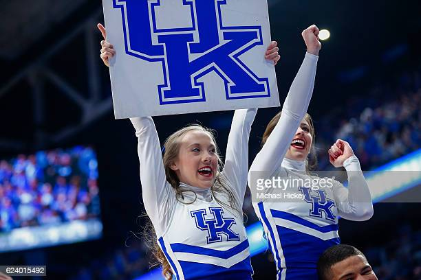 Kentucky Wildcats cheerleader is seen during the game against the Canisius Golden Griffins at Rupp Arena on November 13 2016 in Lexington Kentucky...
