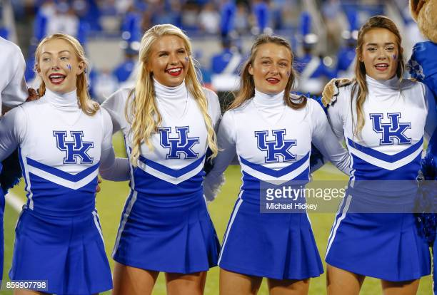 Kentucky Wildcats cheerleader is seen during the game against the Missouri Tigers at Commonwealth Stadium on October 7, 2017 in Lexington, Kentucky.