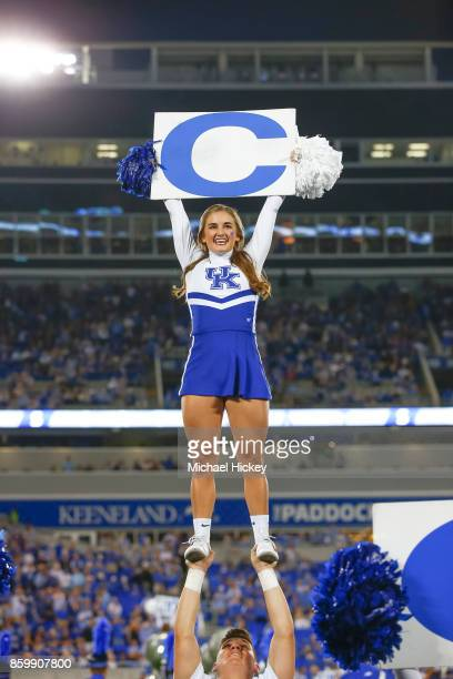Kentucky Wildcats cheerleader is seen during the game against the Missouri Tigers at Commonwealth Stadium on October 7 2017 in Lexington Kentucky