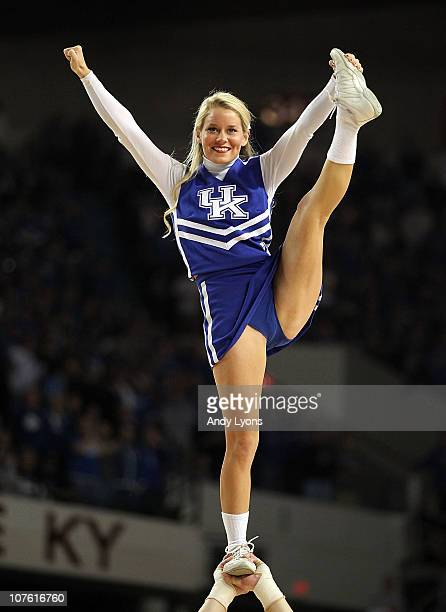 Kentucky Wildcats cheerleader performs during the game against the Notre Dame Fighting Irish in the 2010 DIRECTV SEC/BIG EAST Invitational at Freedom...