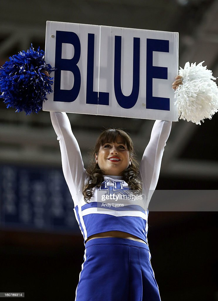 A Kentucky Wildcats cheerleader performs during the game against the South Carolina Gamecocks at Rupp Arena on February 5, 2013 in Lexington, Kentucky.