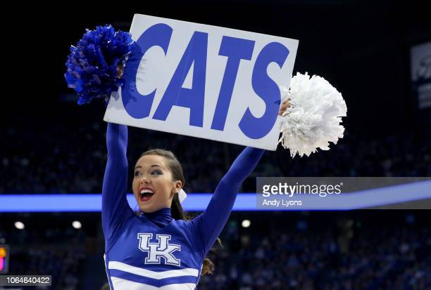 Kentucky Wildcats cheerleader performs in the game against the Tennessee State Tigers at Rupp Arena on November 23 2018 in Lexington Kentucky