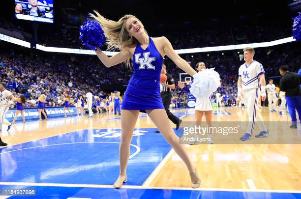 Kentucky Wildcats cheerleader performs in the game against the Kentucky State Thorobreds at Rupp Arena on November 01, 2019 in Lexington, Kentucky.
