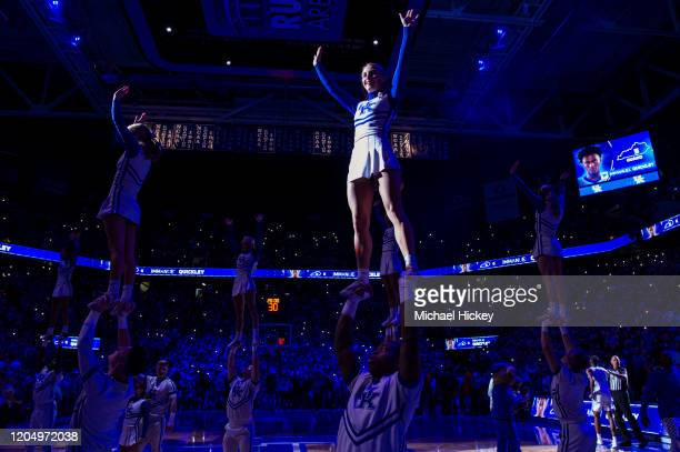 Kentucky Wildcats cheerleaders are seen before the game against the Auburn Tigers at Rupp Arena on February 29 2020 in Lexington Kentucky