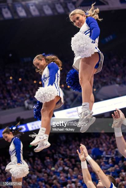 Kentucky Wildcats cheerleaders are seen during the game against the Auburn Tigers at Rupp Arena on February 29 2020 in Lexington Kentucky