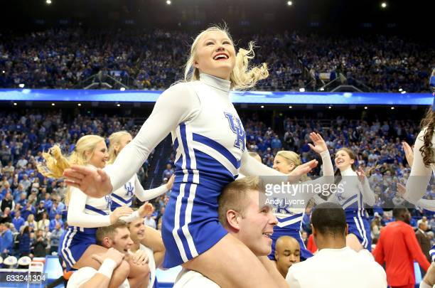 Kentucky Wildcats cheerleaders perform before the game against the Georgia Bulldogs at Rupp Arena on January 31 2017 in Lexington Kentucky