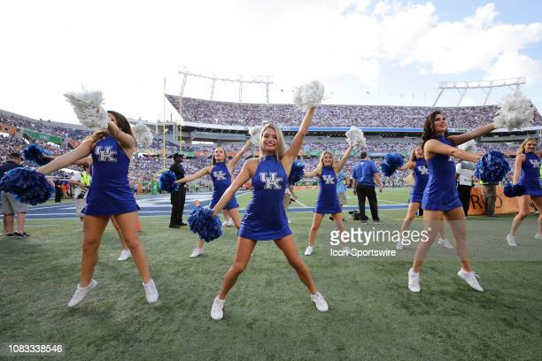 Kentucky Wildcats cheerleaders perform during the Citrus Bowl game between the Kentucky Wildcats and the Penn State Nittany Lions on January 1, 2019...