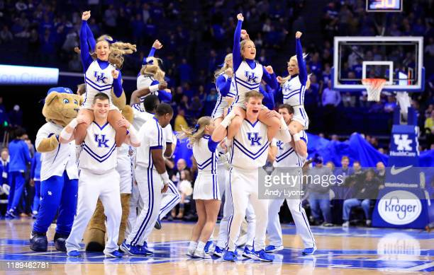 Kentucky Wildcats cheerleaders perform during the game against the Mount St Mary'S Moutaineers at Rupp Arena on November 22 2019 in Lexington Kentucky