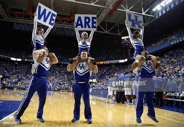 Kentucky Wildcats cheerleaders perform during the game against the Boise State Broncos at Rupp Arena on December 10 2013 in Lexington Kentucky