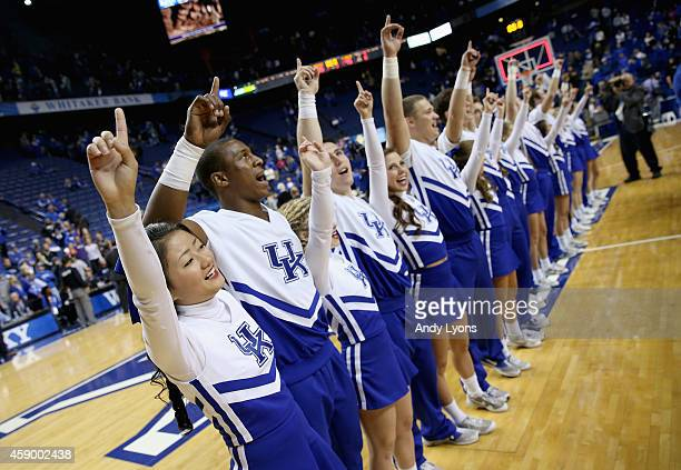 Kentucky Wildcats cheerleaders perform during the game against the Grand Canyon Antelopes at Rupp Arena on November 14 2014 in Lexington Kentucky