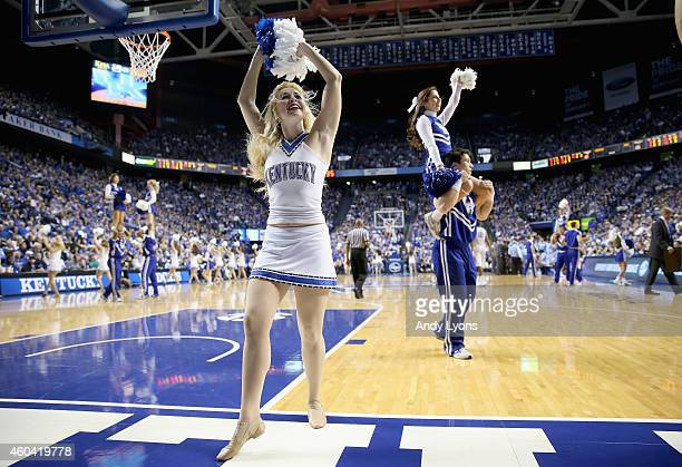 Kentucky Wildcats cheerleaders perform during the game against the North Carolina Tar Heels at Rupp Arena on December 13 2014 in Lexington Kentucky