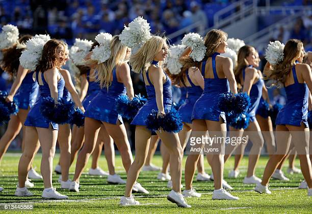 Kentucky Wildcats cheerleaders perform during the game against the Vanderbilt Commodores at Commonwealth Stadium on October 8, 2016 in Lexington,...