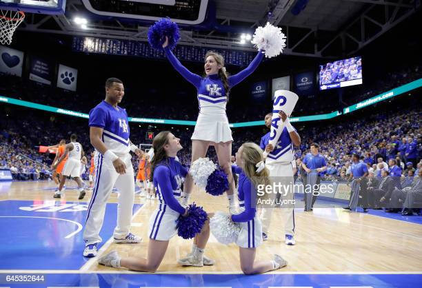 Kentucky Wildcats cheerleaders perform during the game against the Florida Gators at Rupp Arena on February 25 2017 in Lexington Kentucky
