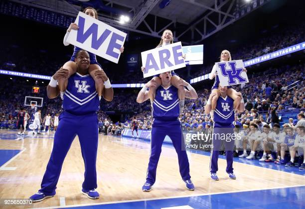 Kentucky Wildcats cheerleaders perform during the game against the Ole Miss Rebels at Rupp Arena on February 28 2018 in Lexington Kentucky