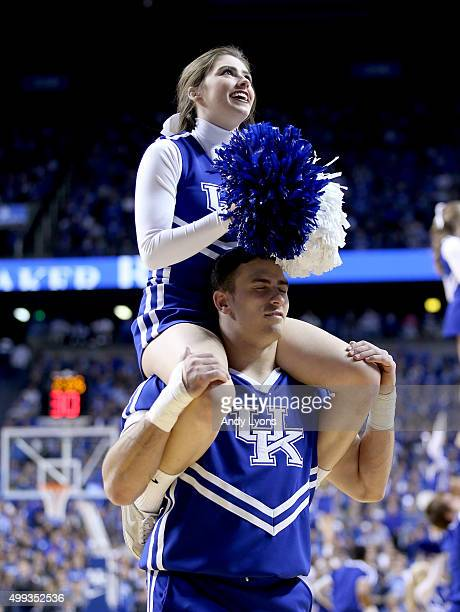 Kentucky Wildcats cheerleaders perform during the game Illinois State Redbirds at Rupp Arena on November 30 2015 in Lexington Kentucky