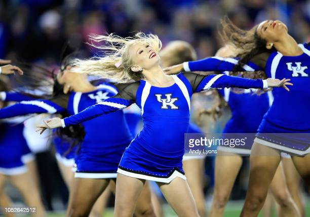 Kentucky Wildcats cheerleaders perform in the game against the Vanderbilt Commodores at Commonwealth Stadium on October 20 2018 in Lexington Kentucky