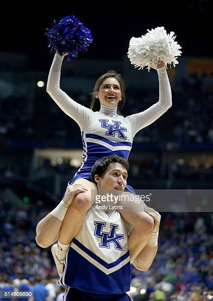 Kentucky Wildcats cheerleaders perform in the game against the Alabama Crimson Tide during the quarterfinals of the SEC Basketball Tournament at...