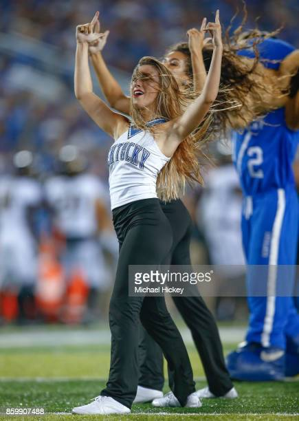 Kentucky Wildcats dance team member is seen during the game against the Missouri Tigers at Commonwealth Stadium on October 7 2017 in Lexington...