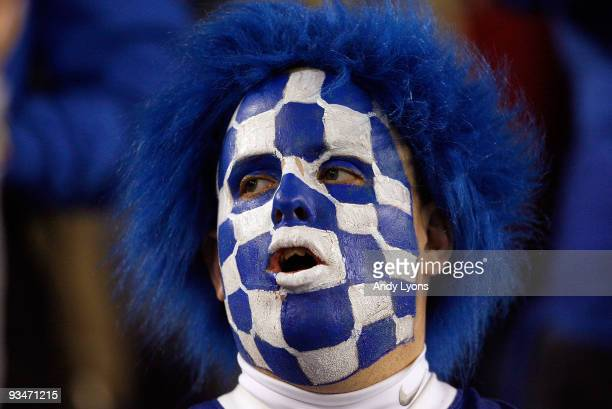 Kentucky Wildcats fan is pictured during the SEC game against the Tennessee Volunteers at Commonwealth Stadium on November 28, 2009 in Lexington,...