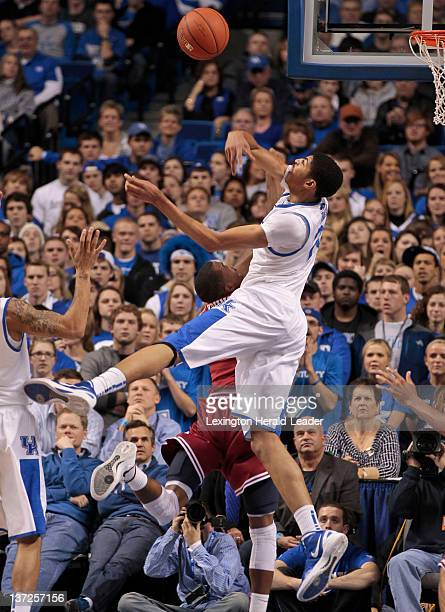 Kentucky Wildcats forward Anthony Davis blocked the shot of Arkansas Razorbacks guard BJ Young for his record breaking 84th block of the year on...