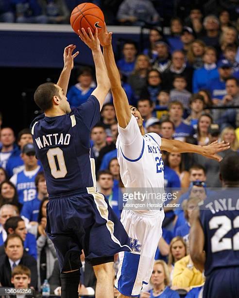 Kentucky Wildcats forward Anthony Davis blocks the shot of Chattanooga Mocs guard Omar Wattad during game action at Rupp Arena in Lexington Kentucky...
