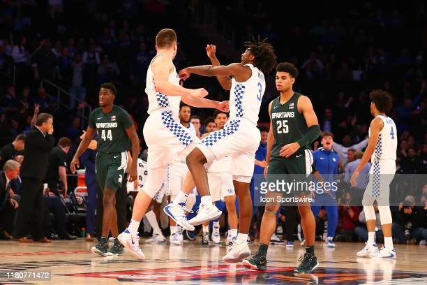 Kentucky Wildcats forward Nate Sestina reacts with Kentucky Wildcats guard Tyrese Maxey after a made 3 point basket during the second half of the...