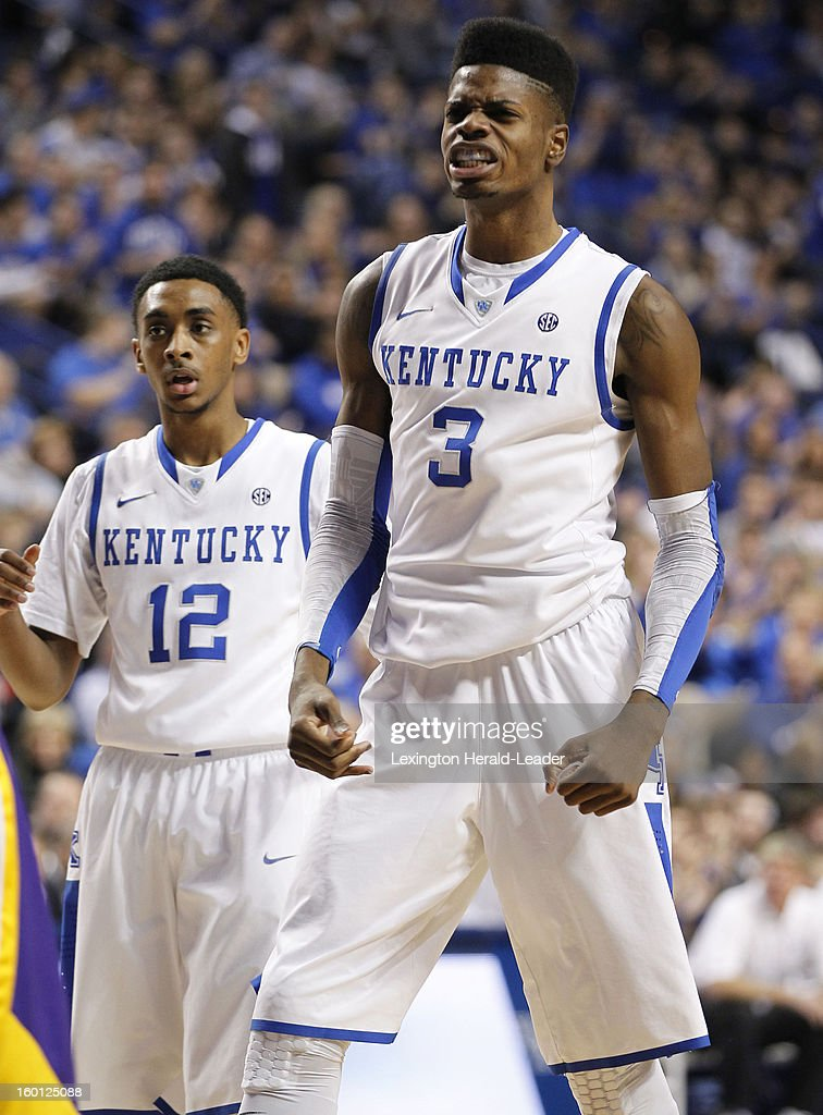 Kentucky Wildcats forward Nerlens Noel (3) reacts to hitting a shot and being fouled during game action against LSU at Rupp Arena in Lexington, Kentucky, Saturday, January 26, 2013. Kentucky defeated LSU