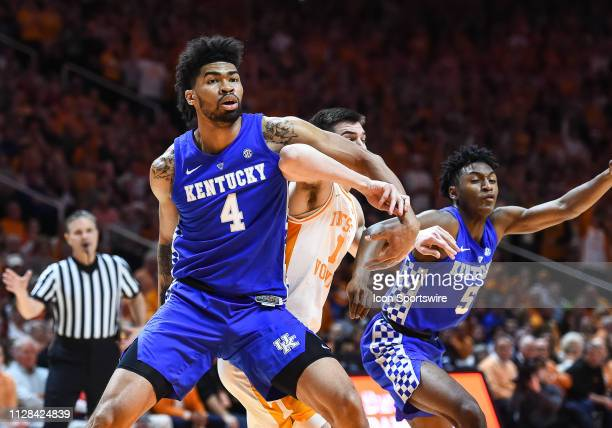 Kentucky Wildcats forward Nick Richards blocking out Tennessee Volunteers forward John Fulkerson during a college basketball game between the...