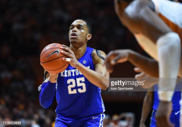 Kentucky Wildcats forward PJ Washington shoots a free throw during a college basketball game between the Tennessee Volunteers and Kentucky Wildcats...
