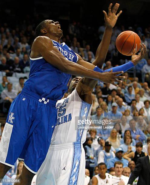 Kentucky Wildcats forward Terrence Jones was fouled by North Carolina Tar Heels guard Reggie Bullock on a drive to the basket on Saturday December 4...