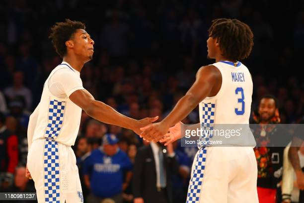 Kentucky Wildcats guard Ashton Hagans and Kentucky Wildcats guard Tyrese Maxey during the second half of the 2019 State Farm Champions Classic...