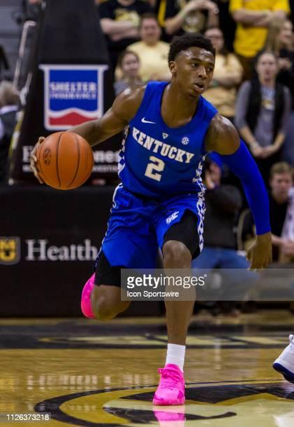 Kentucky Wildcats guard Ashton Hagans brings the ball up court during the SEC regular season matchup between the Missouri Tigers and the Kentucky...