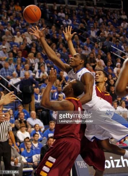 Kentucky Wildcats guard Brandon Knight makes an offbalanced shot against the Winthrop Eagles Wednesday December 22 2010 in Lexington Kentucky...