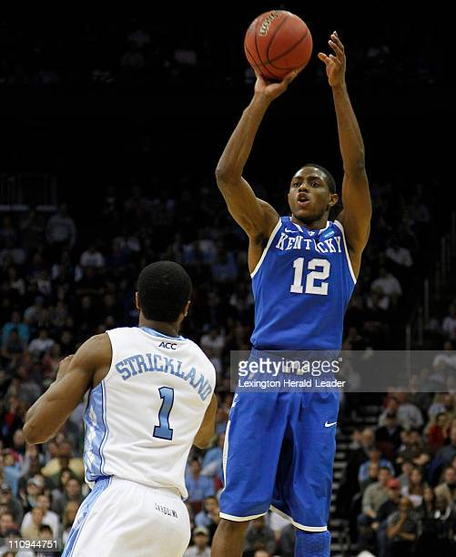 Kentucky Wildcats guard Brandon Knight put in two of his 22 points against North Carolina during the Elite 8 of the men's NCAA East Regional...