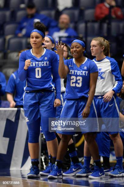 Kentucky Wildcats guard Kameron Roach and k8 cheer as the clock winds down against the Alabama Crimson Tide during the fourth period between the...