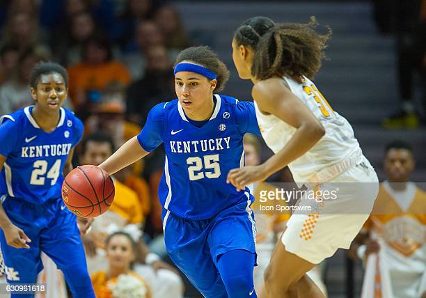 Kentucky Wildcats guard Makayla Epps pushes the ball up the court past Tennessee Lady Volunteers guard/forward Jaime Nared during a game between the...