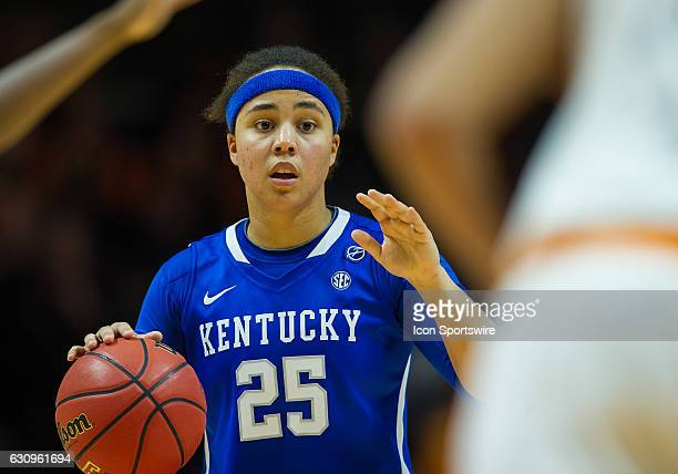 Kentucky Wildcats guard Makayla Epps sets the offense during a game between the Tennessee Lady Volunteers and Kentucky Wildcats on January 1 at...
