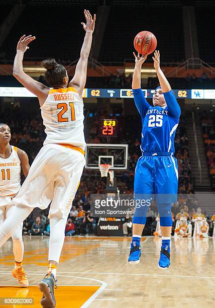Kentucky Wildcats guard Makayla Epps takes a shot over Tennessee Lady Volunteers center Mercedes Russell during a game between the Tennessee Lady...