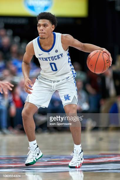 Kentucky Wildcats guard Quade Green dribbles the ball in action during a Champions Classic game between the Duke Blue Devils and the Kentucky...
