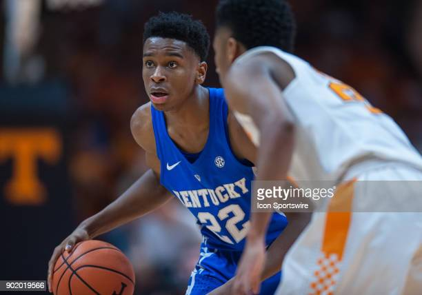 Kentucky Wildcats guard Shai GilgeousAlexander bringing the ball up court is guarded by Tennessee Volunteers guard Jordan Bowden during a game...