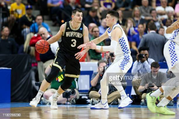Kentucky Wildcats guard Tyler Herro defends Wofford Terriers guard Fletcher Magee during a game at VyStar Veterans Memorial Arena on March 23 2019 in...
