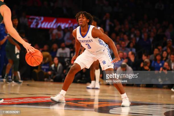 Kentucky Wildcats guard Tyrese Maxey defends during the first half of the 2019 State Farm Champions Classic college basketball game between the...